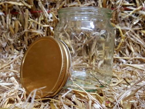 Honey Jar Glass with gold lid 454g/1 lb