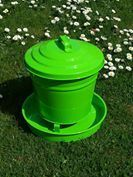 Poultry Feeder with lid - Green - 3.6kg Galvanised