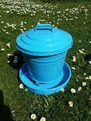 Poultry Feeder with lid - Blue - 3.6kg Galvanised